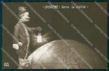 WW1 WWI Propaganda Map Diogene Politica RPPC cartolina postcard XF8054