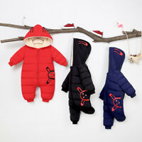 Newborn Infant Baby Boys Girls Winter Warm Thick Romper Jumpsuit Hooded Outfits