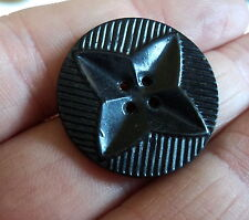 FAB ART DECO  CARVED CELLULOID  BUTTON BLACK 1  INCH