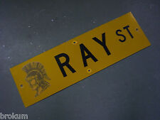 """Vintage ORIGINAL RAY ST STREET SIGN 30"""" X 9"""" BLACK LETTERING ON YELLOW"""