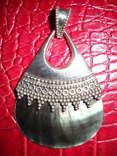 Artisan Crafted Sterling Silver & BLACK Mother-of-Pearl Pendant - EUC Never Worn