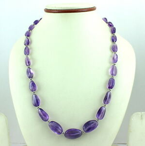 925 SOLID STERLING SILVER NATURAL AMETHYST GEMSTONE NECKLACE 38 GRAMS