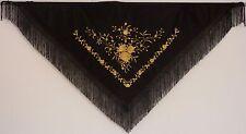 New Spanish Flamenco Shawl - Black with Gold Pattern with Black Fringe