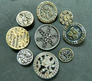 Antique Victorian Pretty LOT Botanical FLOWER Metal Picture Buttons Small-Large