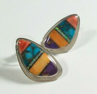 """925 STERLING SILVER SPINY OYSTER OPAL TURQUOISE 1"""" POST EARRINGS"""