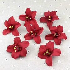 50Pcs Burgundy Orchid Bulk 3'' Artificial Fake Flower Heads Wedding Home Decor
