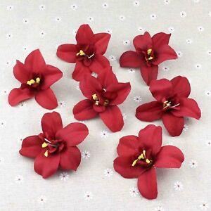 50Pcs Burgundy Orchid Bulk 3'' Artificial Fake Flower Heads Wedding Home Decor