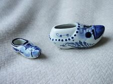 VINTAGE DELFT BLUE WHITE HANDPAINTED CLOGS ONE TEENY AND ONE SMALL LOVELY BLUES