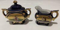 Vintage~Creamer & Sugar Set~Cobalt Blue~Gold Trim~Moriage~Courting Scene