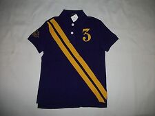 NWT POLO RALPH LAUREN BOYS S/S NO-3  RUGBY POLO SHIRT- PURPLE / YELLOW - ( 7 )