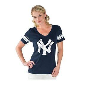 G-III 4her New York Yankees Women's Ballpark V-Neck T-Shirt - Navy