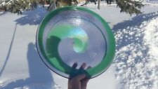 Vintage MURANO Large Art Glass Bowl MADE IN ITALY Purple Green Swirl Centerpiece