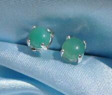 BEAUTIFUL GREEN  ROUND 6MM CABOCHON AVENTURINE  1.50CTW STERLING SILVER STUDS