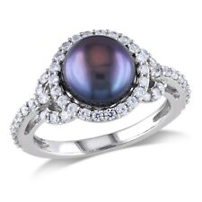 mm Black Freshwater Pearl Fashion Ring Silver 1 Ct White Cubic Zirconia 8.5 - 9