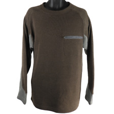 Above Sea Level Brown & Gray Long Sleeve Front Pocket Sweater Men's Size Large