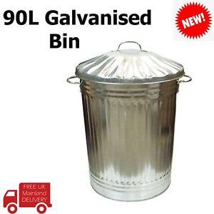 TRASH BIN Large 90L Galvanised Metal Storage Bin with Lid and Handles