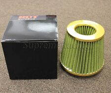 RDT GOLD Open Top Yellow mesh 3'' Universal Dry Flow cone Cold Air Intake Filter