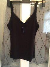 MANGO Ladies Black Lace Stretch Vest Top BNWT Size X Small
