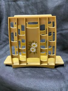 Vintage Plastic MCM 60's or 70's Napkin Holder Harvest Gold with Daisies