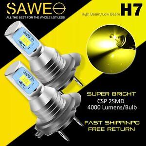 2 x H7 LED Headlight Bulbs Conversion Kit High Low Beam Fog Light 3000K Yellow