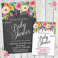 'YOU PRINT' Personalised Baby Shower Floral Invitation Invite Girl Boy Digital