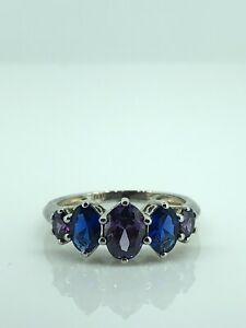 Sterling Silver Sapphire Amethyst 5-Stone Ring, UK Size N, Excellent Condition