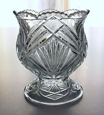 Antique EAPG Bryce Higbee Pressed Glass Beautiful Lady Scalloped Sugar c1880s