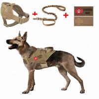 K9 Tactical Service Harness Military Working Patrol Dog Vest+Leash+Patch Set
