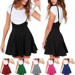 Women High Waist Pleated Suspender Skirt Ladies Adjustable Strap Casual Dresses