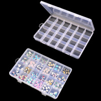 Plastic Clear Jewelry Bead Storage Box Case Container 24 Compartment Organizer