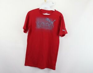 Puma Mens Small Spell Out Short Sleeve Casual T-Shirt Shirt Red Cotton