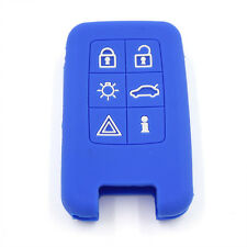 Blue 6BTN Silicone FOB Remote Key Cover Bag fit for VOLVO V40 S80 XC60 V60