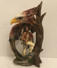 "Native American Indian Bald Eagle Figurine, Resin, 11"" H x 7-1/4"" W x 3-1/4"" D"