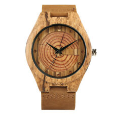 Growth Ring Wood Gift Bamboo  Quartz Genuine Leather Band Men Watches