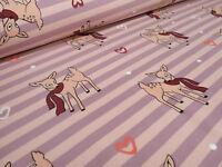 Stoff Baumwolle Jersey Streifen Reh Kitz Herzen rosa flieder Kinderstoff