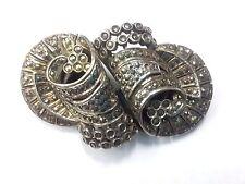 Vintage Antique Silver  Marcasite Duette Clip Brooch Trombon clasp
