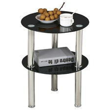 Side Table End Coffee Sofa Table Black Glass & Stainless Steel Desk