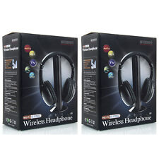 2X New 5 in 1 Wireless Headphone Earphone for MP3/MP4 PC TV CD FM Radio Black US