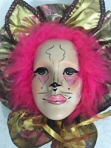 Vintage Brinn Mardi Gras Porcelain Clown Cat Face Mask Wall Art Hand Painted