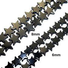"AAA HEMATITE FLAT STAR SHAPED BEADS 8MM STARS 16"" BEAD STRAND HS26"