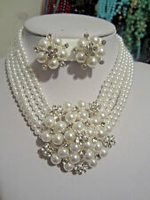 Bridal White Faux Pearl Flower look Pendant Choker With Clip On Earring Set