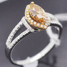 Yellow Gold Natural Diamond Wedding Ring 4x7mm Marquise Cut Solid 14kt 585 White