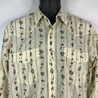 Vintage 80s High Noon Ivory Floral Striped Pearl Snap Western Shirt Size M