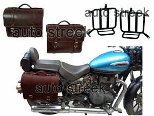 Royal Enfield Meteor 350cc Leather Antique Brown Saddle Bag Pair With Mounting