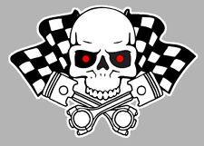 SKULL HEAD FLAGS TETE DE MORT DAMIERS HOT ROD AUTOCOLLANT STICKER 120mm (HA134)