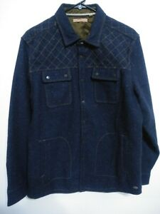 Jeremiah Mens Size Large Navy Blue Speckled Long Sleeve Snap Button Up Jacket
