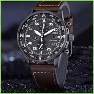 Citizen Crono Aviator Men's Eco Drive wrist Chronograph Watch with Box NEW
