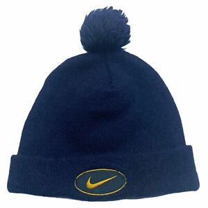 Nike Swoosh Logo Beanie Bobble Hat | Vintage 90s Retro Street Sportswear Navy
