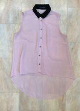 Primark Sleeveless Pink Black Sheer Loose Shirt Blouse Asymmetric Hem Size 12