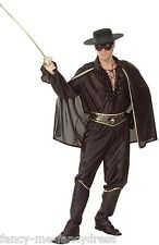 Adult Mens 7 Piece Deluxe Zorro Spanish Bandit Fancy Dress Costume Outfit